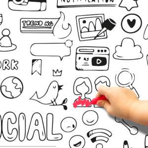 Pinta e Apaga Social Mídia - Papel de Parede Adesivo Dcorando