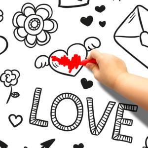 Pinta e Apaga Papel de Parede Adesivo Love Dcorando