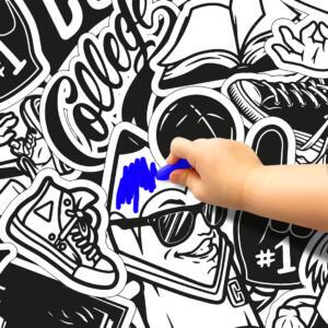 Pinta e Apaga Graffiti Papel de Parede Adesivo Dcorando