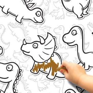Pinta e Apaga Papel de Parede Adesivo Dinossauro Dcorando