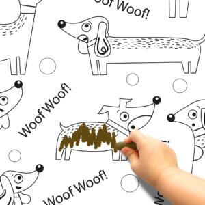 Pinta e Apaga Papel de Parede Adesivo Cachorrinho Dcorando